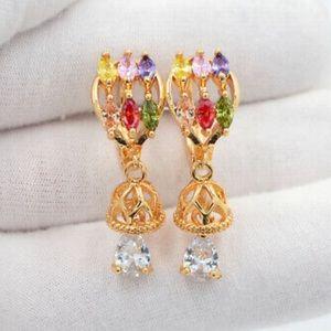 Multi-color bell gold earrings